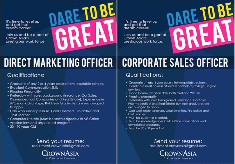 Great New Job Openings at Crown Asia Crown Asia