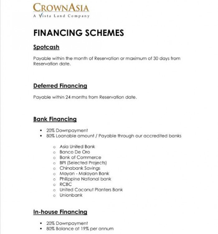 Financing Schemes Requirements