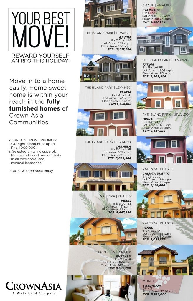 Crown Asia Your Best Move Crown Asia Ready Homes Holiday Promo 2
