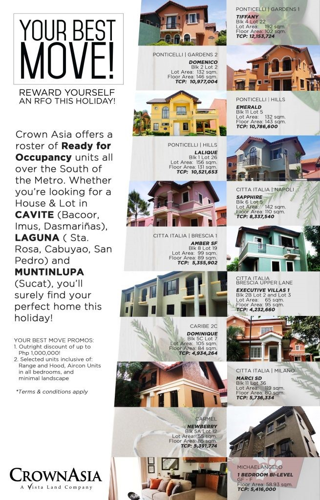 Crown Asia Your Best Move Crown Asia Ready Homes Holiday Promo 1